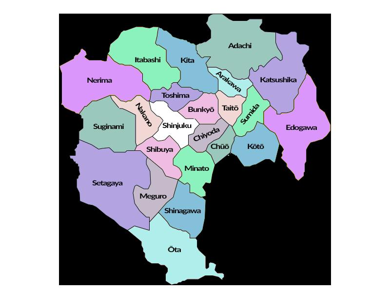 Tokyo - Carte des 23 arrondissements spéciaux