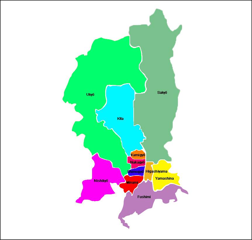 Kyoto - Carte des arrondissements